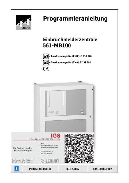 Einbruchmelderzentrale 561-MB100 - IGS-Industrielle ...