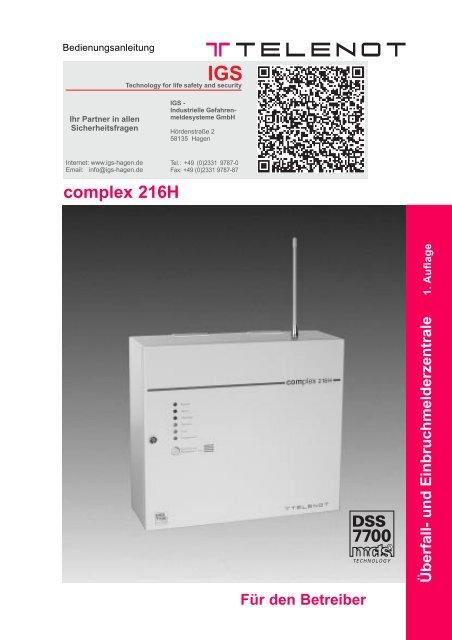 Telenot - Einbruchmelderzentrale Complex 216H - Bedienung