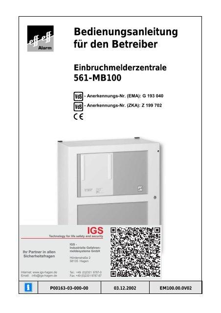 Honeywell - Einbruchmelderzentrale 561-MB100 - Bedienung (PDF)