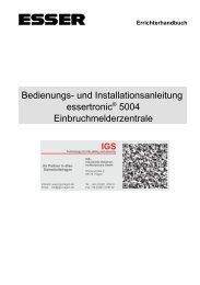Einbruchmelderzentrale Essertronic 5004 (PDF) - IGS-Industrielle ...