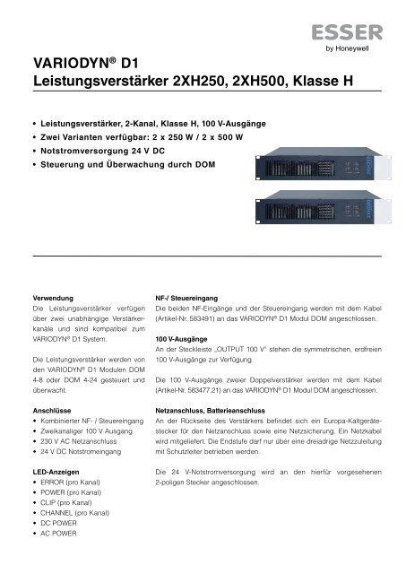VARIODYN® D1 Leistungsverstärker 2XH250, 2XH500, Klasse H