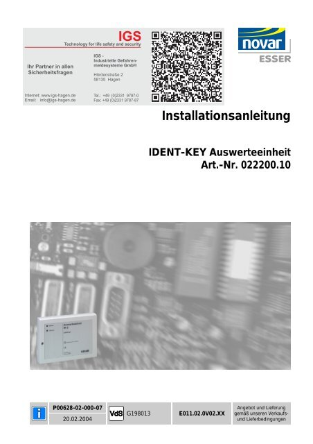 Honeywell - Ident-Key-Auswerteeinheit IK2 (022200.10) (PDF)