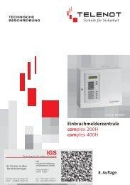 Einbruchmelderzentrale Complex-200H-400H - IGS-Industrielle ...