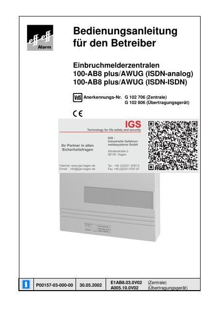 Einbruchmelderzentrale 100-AB8 plus - IGS-Industrielle ...