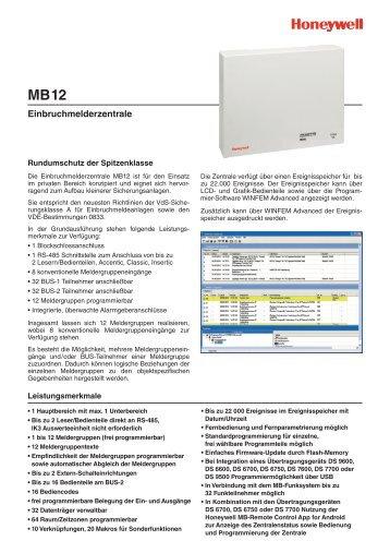 Einbruchmelderzentrale MB12