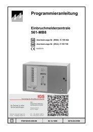 Einbruchmelderzentrale 561-MB8 - Programmierung