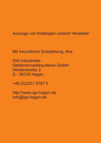 Katalogauszug Notifier Grenzwertmelder - IGS-Industrielle ...