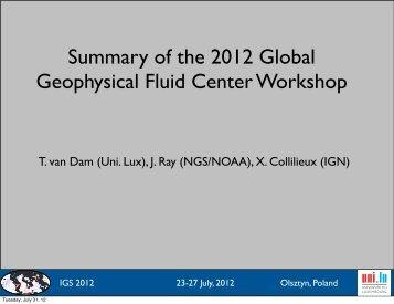 Summary of the 2012 Global Geophysical Fluid Center ... - IGS - NASA