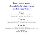 Experiment on impact of constrained orbit parameters on station - IGS