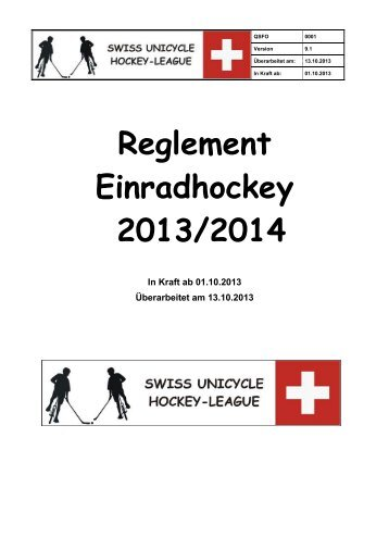 Reglement der Swiss Unicycle Hockey League 2013/2014 - ATB