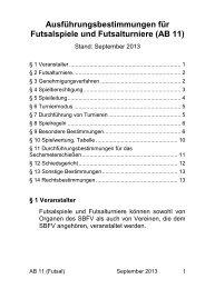 Ausführungsbestimmungen für Futsalspiele und ... - SBFV