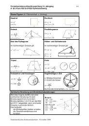 Mathematik-Formelsammlung A-(E-)Kurs