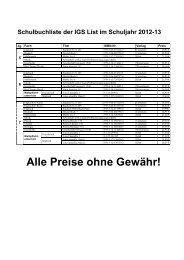 Alle Preise ohne Gewähr! - IGS List Hannover