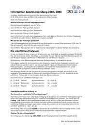 Information Abschlussprüfung 2006/2007 - IGS List Hannover
