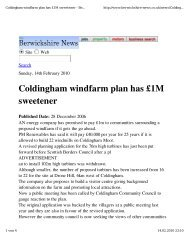 Coldingham windfarm plan has £1M sweetener