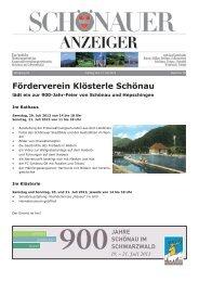 Förderverein Klösterle Schönau - GVV Schönau