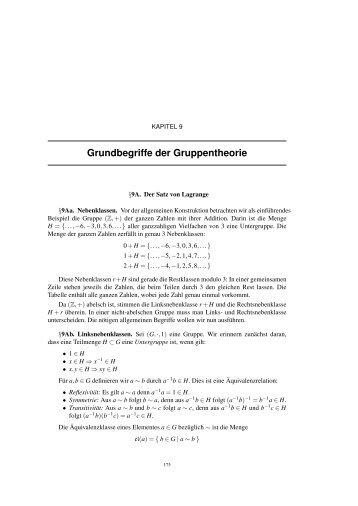 Grundbegriffe der Gruppentheorie