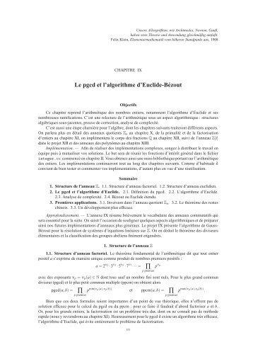 Le pgcd et l'algorithme d'Euclide-Bézout ∏