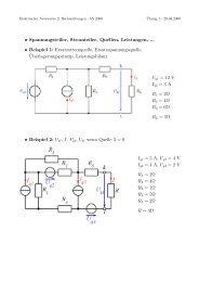 • Spannungsteiler, Stromteiler, Quellen, Leistungen, ... • Beispiel 1 ...