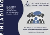Einladungsflyer - IGZ Bamberg