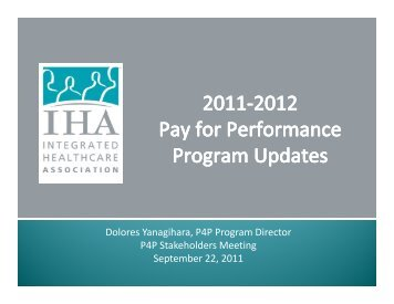 Changes to P4P Quality Measures - Integrated Healthcare Association