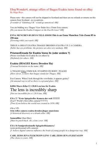 List4 - Ihagee & Exakta Products and History