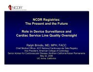 NCDR Registries - Integrated Healthcare Association