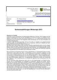 Sortenempfehlungen Winterraps 2013 - Landwirtschaft in Sachsen