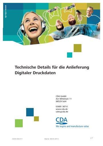 Technische Details für die Anlieferung Digitaler Druckdaten - CDA