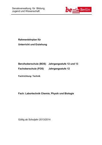 Labortechnik Chemie, Physik und Biologie - Bildungsserver Berlin ...