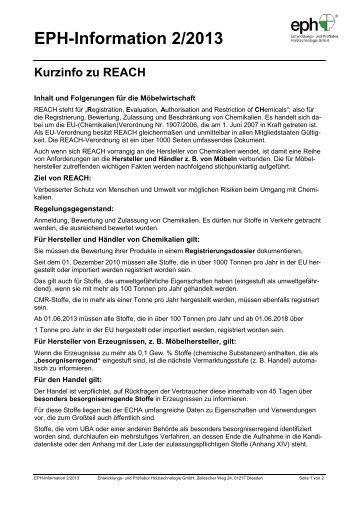(Chemikalien) Verordnung Nr. 1907:2006 (REACH) - IhD