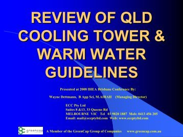 REVIEW OF QLD COOLING TOWER & WARM WATER GUIDELINES