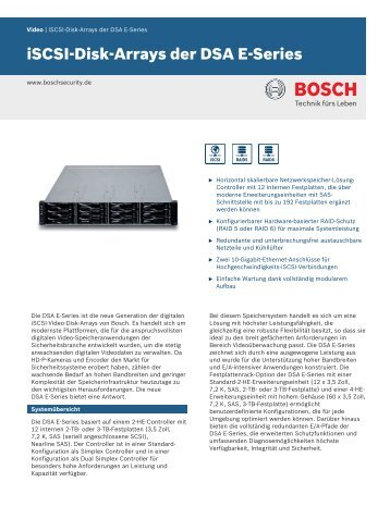 iSCSI-Disk-Arrays der DSA E-Series - Bosch Security Systems
