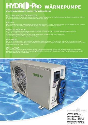 Hydro Pro Wärmepumpen Prospekt - Pumpen Wieck