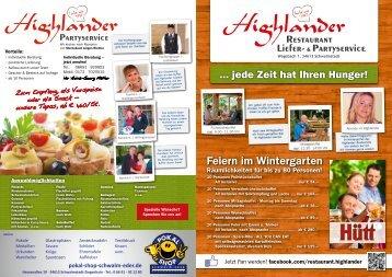 Feiern im Wintergarten - Highlander Restaurant in Schwalmstadt