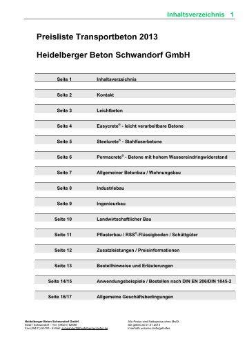 Preisliste Transportbeton 2013 Heidelberger Beton Schwandorf GmbH