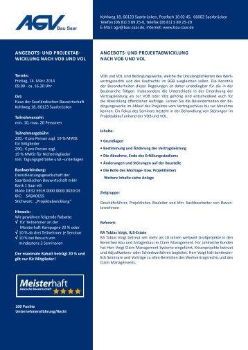 Angebots- und ProjektAb- wicklung nAch Vob und ... - AGV Bau Saar