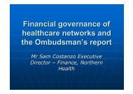 Financial governance of healthcare networks and the Ombudsman's