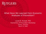 What Have We Learned from Economic Analyses of Prevention?