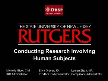Rutgers IRB - Rutgers, The State University of New Jersey