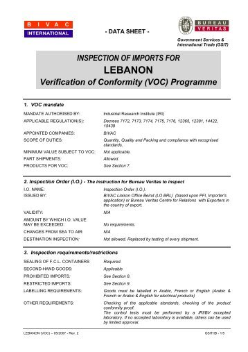 INSPECTION OF IMPORTS FOR LEBANON ... - Bureau Veritas