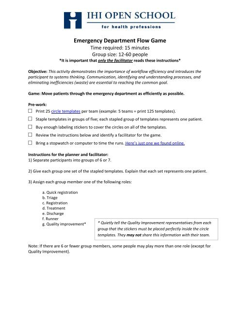 Emergency Department Flow Game