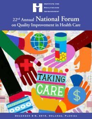 22nd Annual National Forum - Institute for Healthcare Improvement