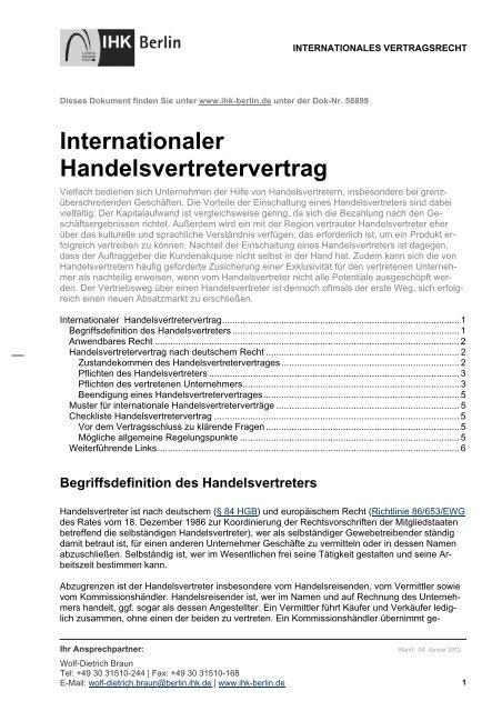 Muster Handelsvertretervertrag Pdf Starterzentrum Rlp De 9