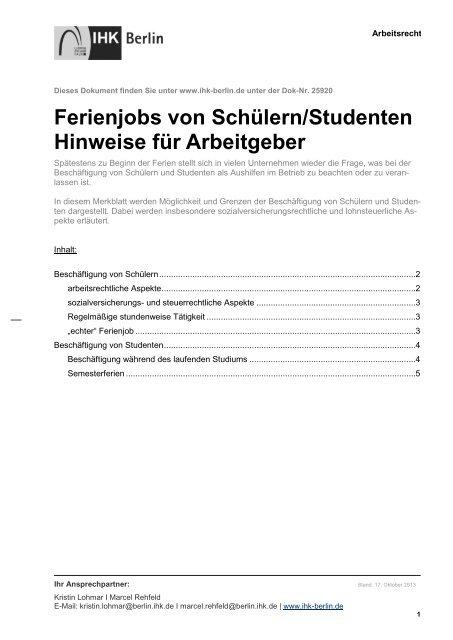 Ferienjobs Von Schã¼lernstudenten Ihk Berlin