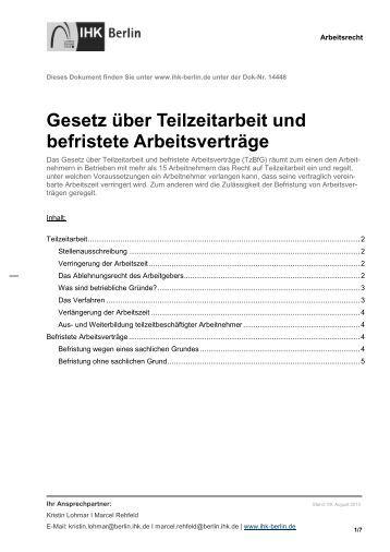 gesetz ber teilzeitarbeit und befristete arbeitsvertrge ihk berlin - Arbeitsvertrag Muster Ihk