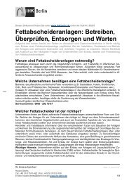 Fettabscheideranlagen betreiben, überprüfen ... - IHK Berlin