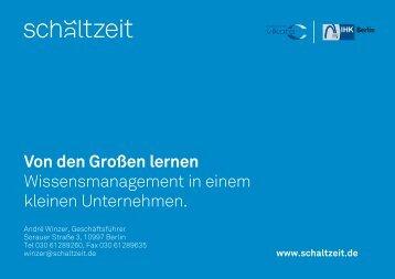 Wissensmanagement in einem kleinen Unternehmen - IHK Berlin
