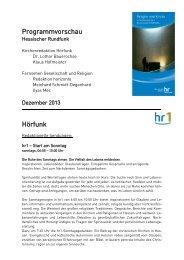 Programmvorschau Kirchenredaktionen Dezember 2013