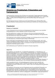 Hinweise zur Projektarbeit, Präsentation und Fachgespräch